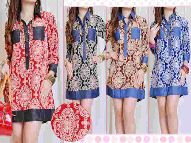 kd 756 blouse silky batik komb jean cambray @89