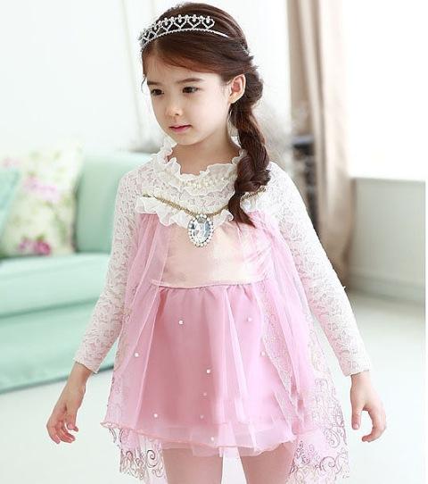 Frozen Elsa Lace Dress Pink Short Isi 5