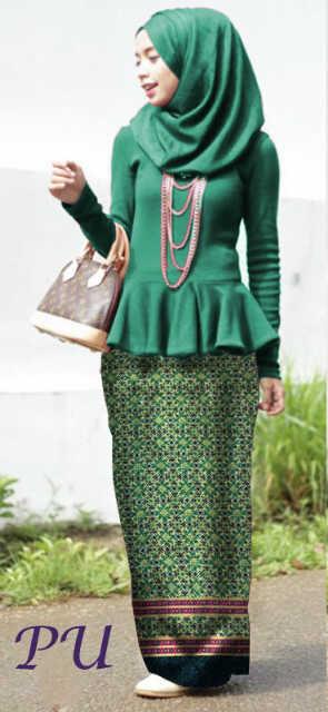 READY 106rb MISS BATIKA HIJAU, ATASAN peplum korea spdx+ROK span motif batik import PERSIS foto+PASHMINA korea spdx,1w)rok blkg karet