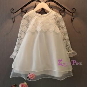 Korean Pink Lace White Dress