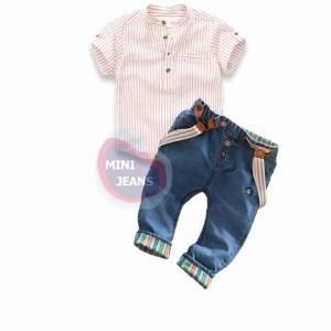 Set Kemeja Salur With Jeans