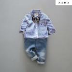 Zara Kids Set Kemeja Biru
